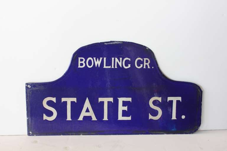 1930 39 S Double Sided Porcelain Humpback State Street Sign At 1stdibs