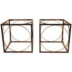 Modern Bronze and Brass Cube Tables