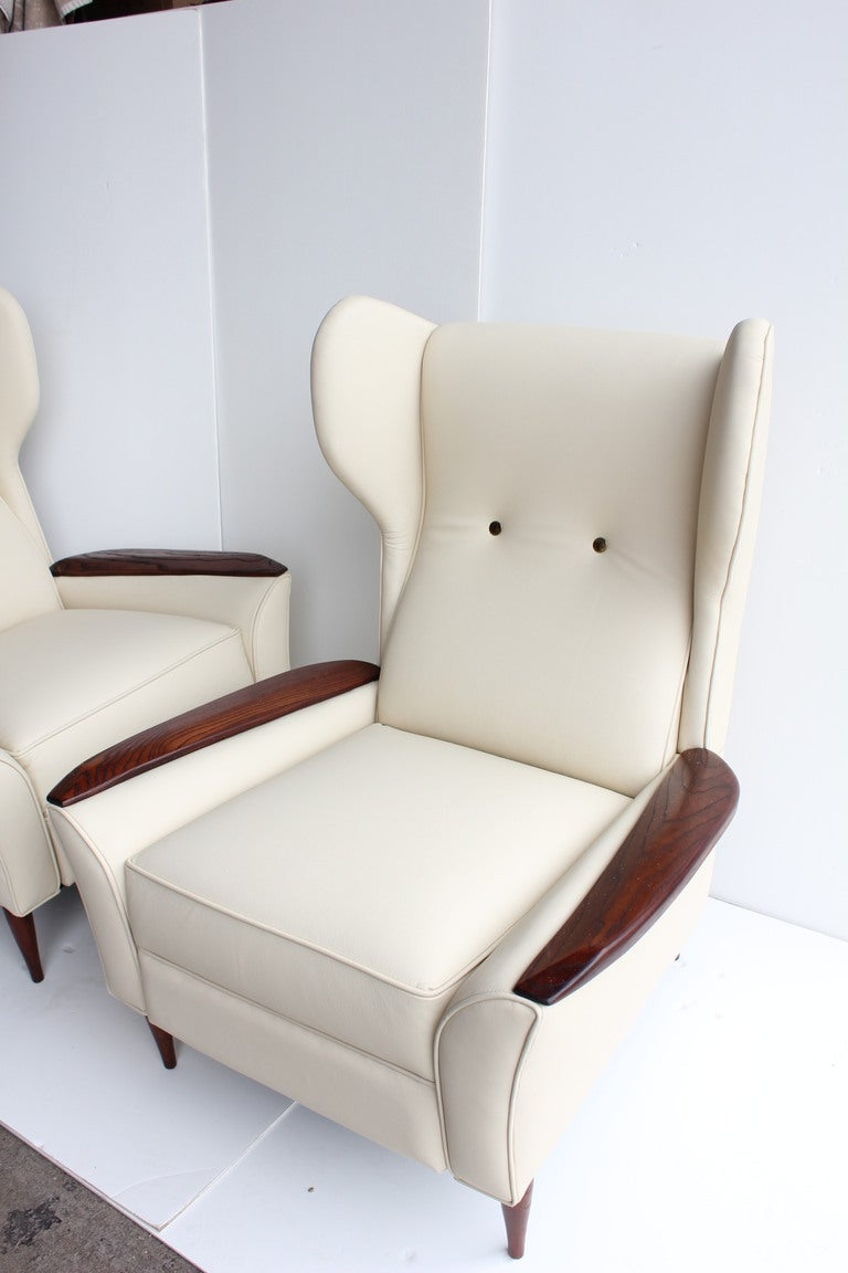 Mid Century Leather Wing Lounge Chairs At 1stdibs