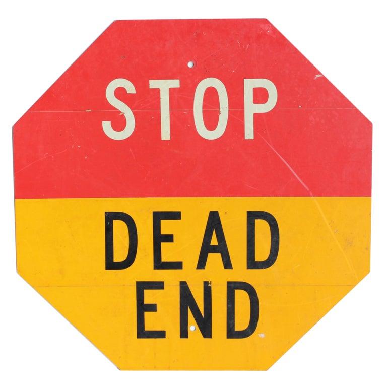 Vintage Metal Street Sign Quot Stop Dead End