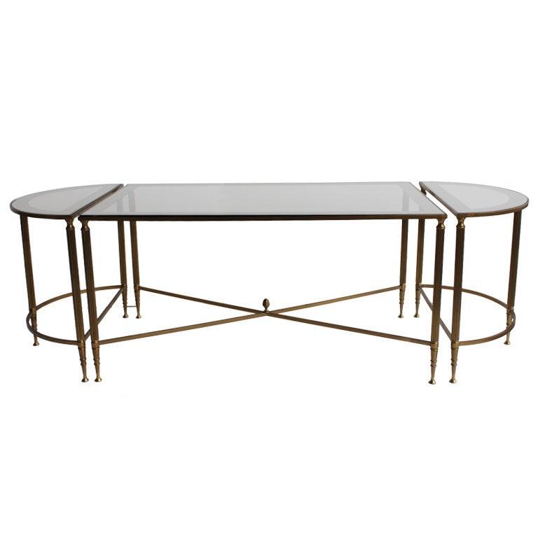 Jansen Style Brass Mirrored Coffee Table At 1stdibs