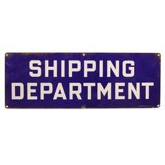 "1930's Original Enamel "" Shipping Department "" Sign"