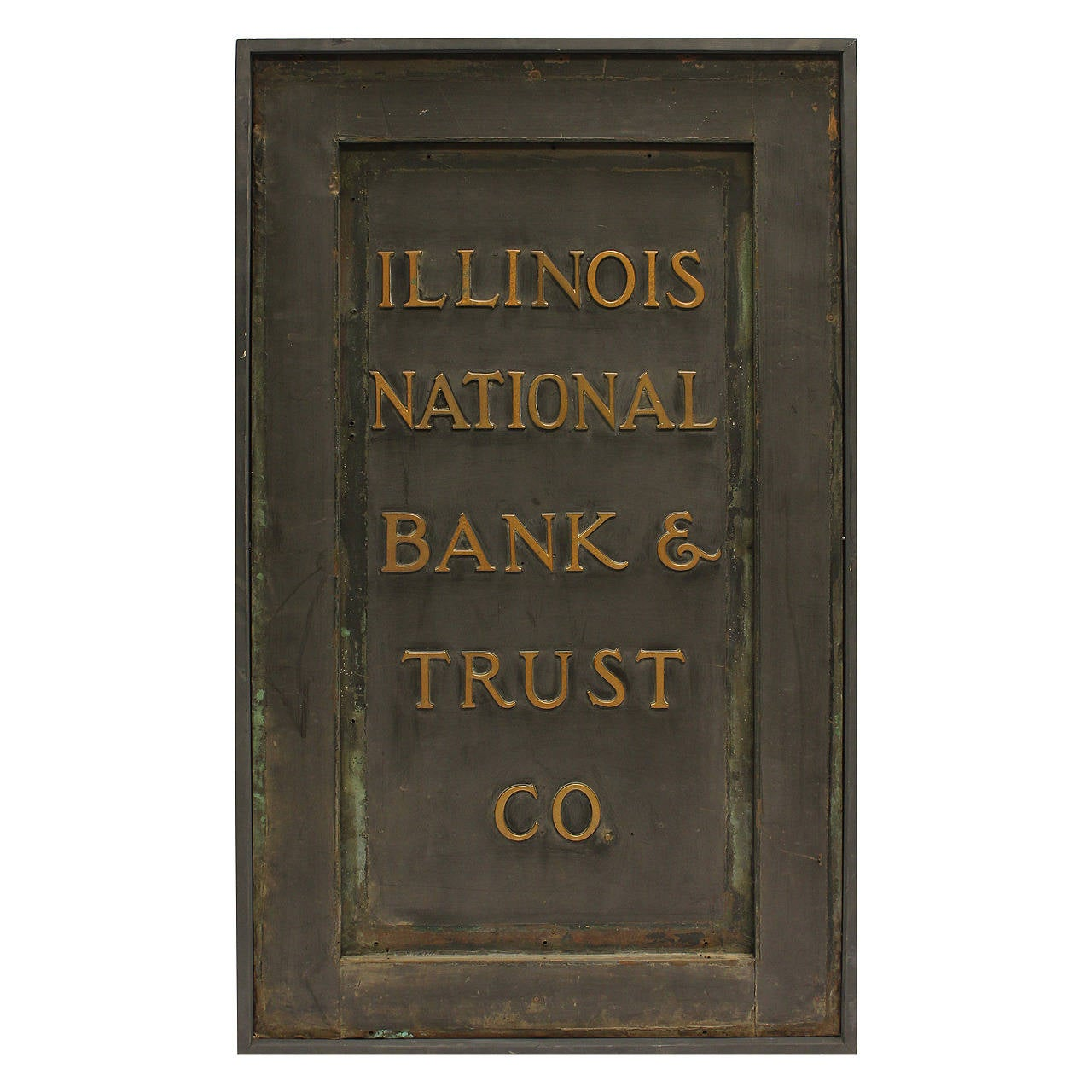 """Antique Brass Sign, """"Illinois National Bank & Trust Co."""""""