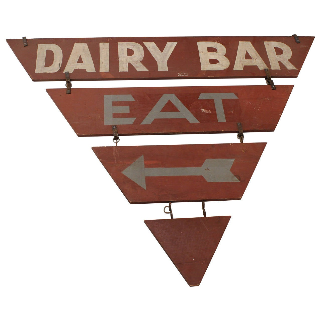 """Vintage Double-Sided """"Dairy Bar Eat"""" Sign"""