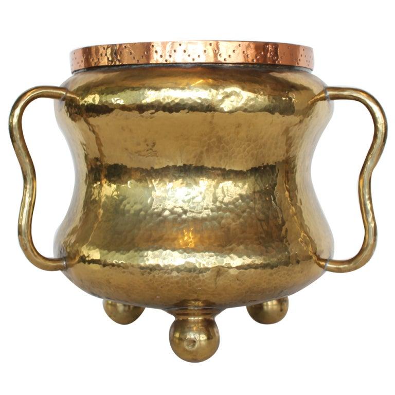 English Hand Hammered Brass Three Handle Pot