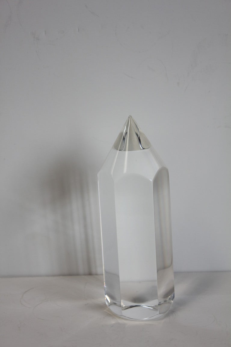 Mid Century Lucite Pencil paperweight.