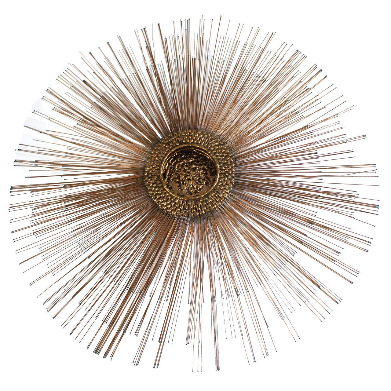 Mid-Century Brutalist Copper Sunburst Wall Sculpture 1