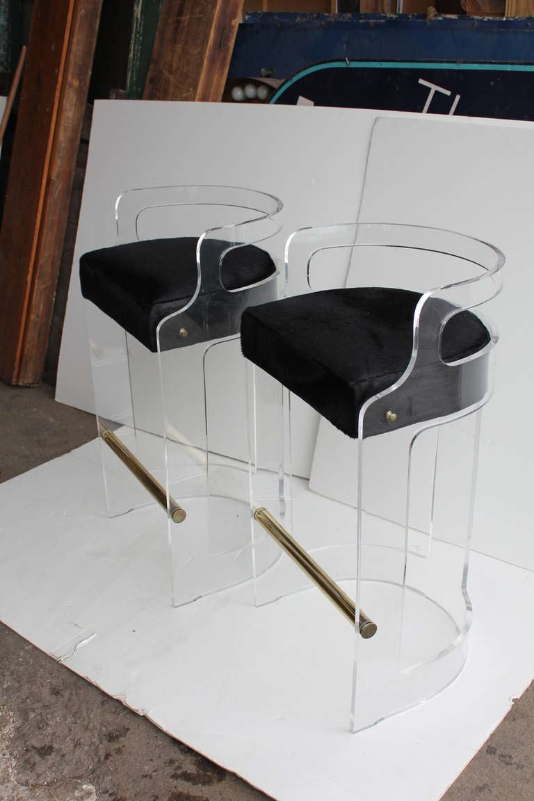 Mid Century Lucite Bar Stools With Cowhide Seats at 1stdibs