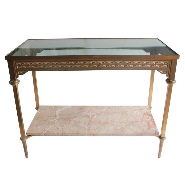 Art Deco Style Bronze Console Table For Sale