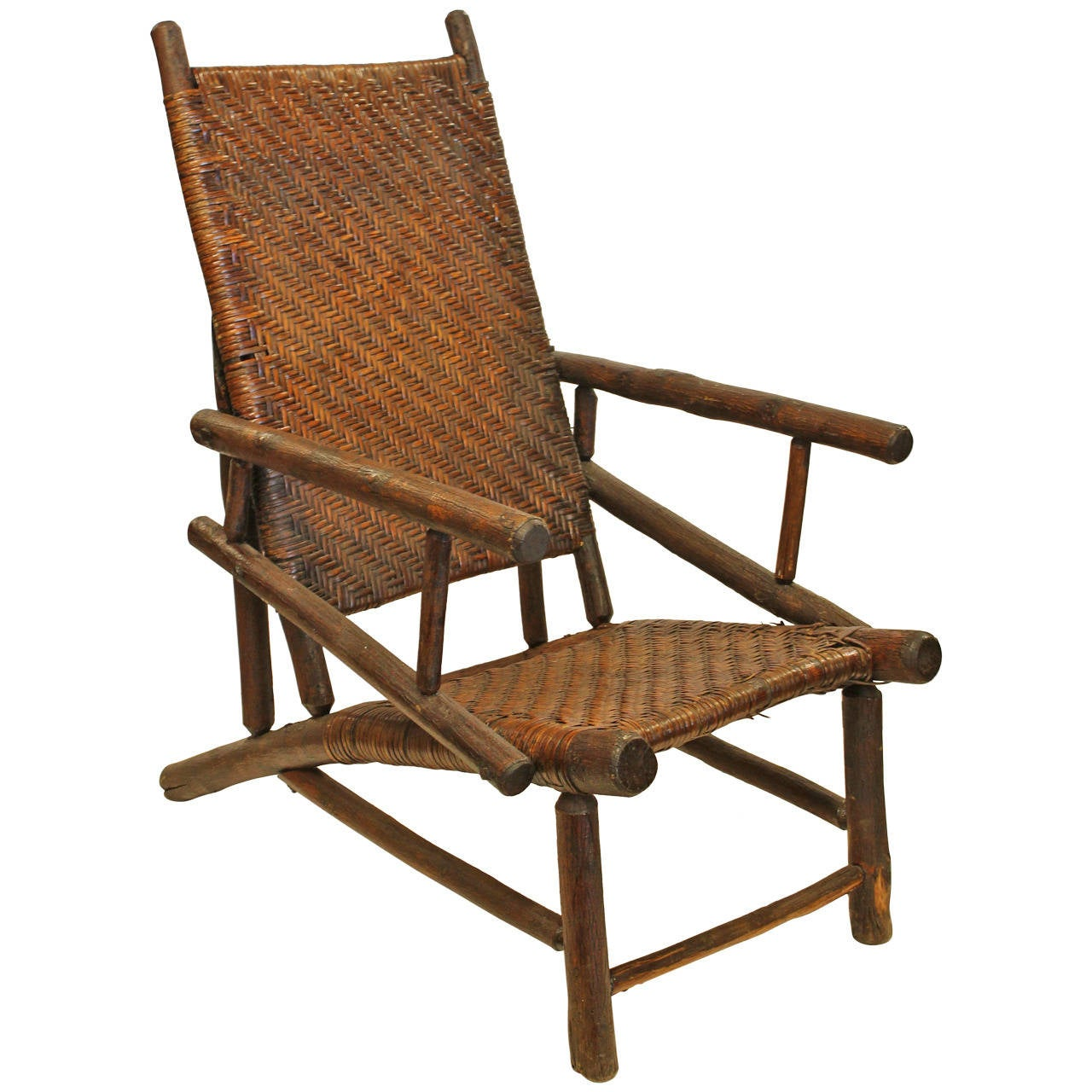 Rare Large Old Hickory Lounge Armchair