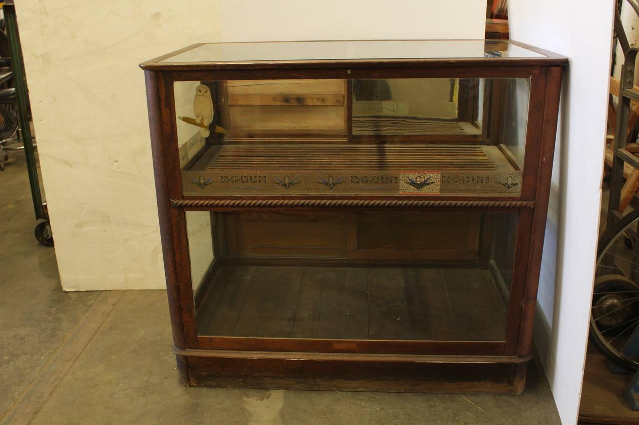 Antique Tobacco Cigar Display Oak Showcase At 1stdibs