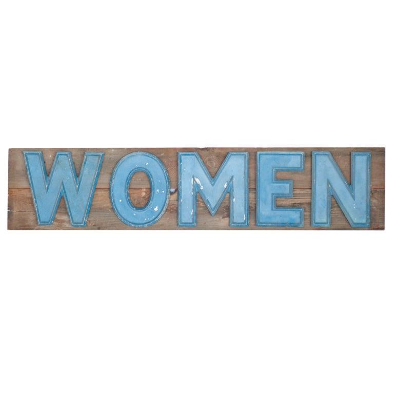 Vintage metal sign women on wooden board for sale at 1stdibs