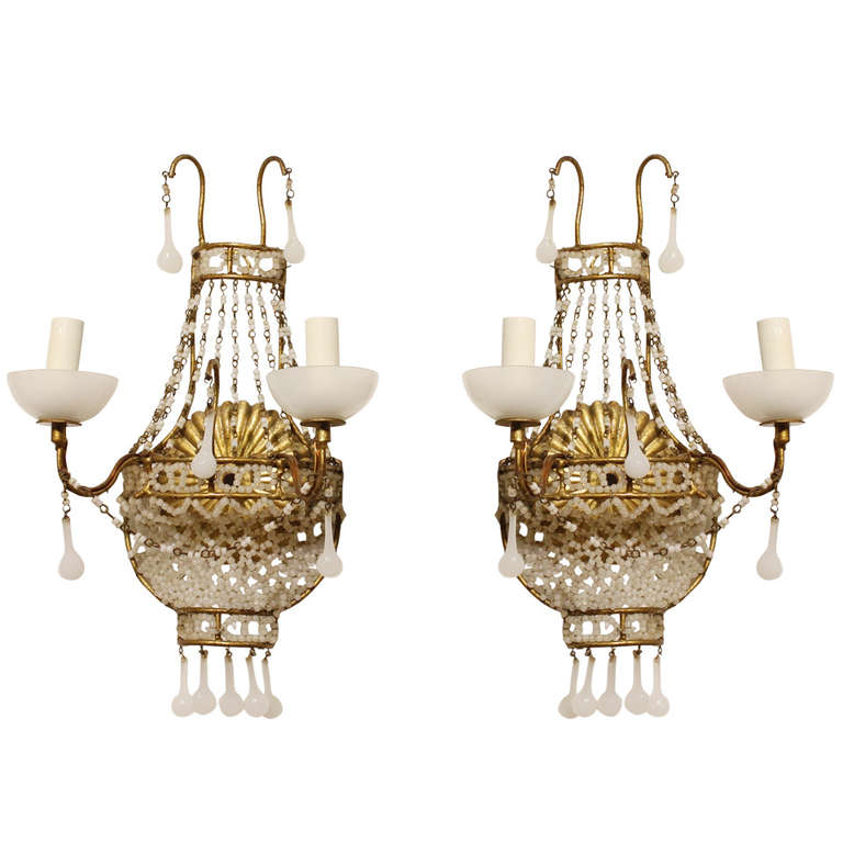 1920's French White Opaline Wall Sconces
