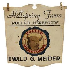 Vintage Wood Bull Hillspring Farm Sign