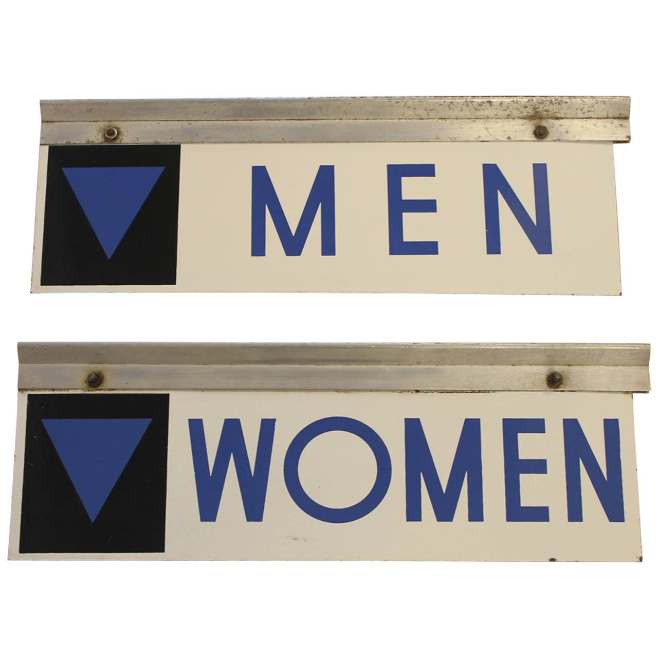 1950s Enamel Gas Station Men and Women Restroom Signs