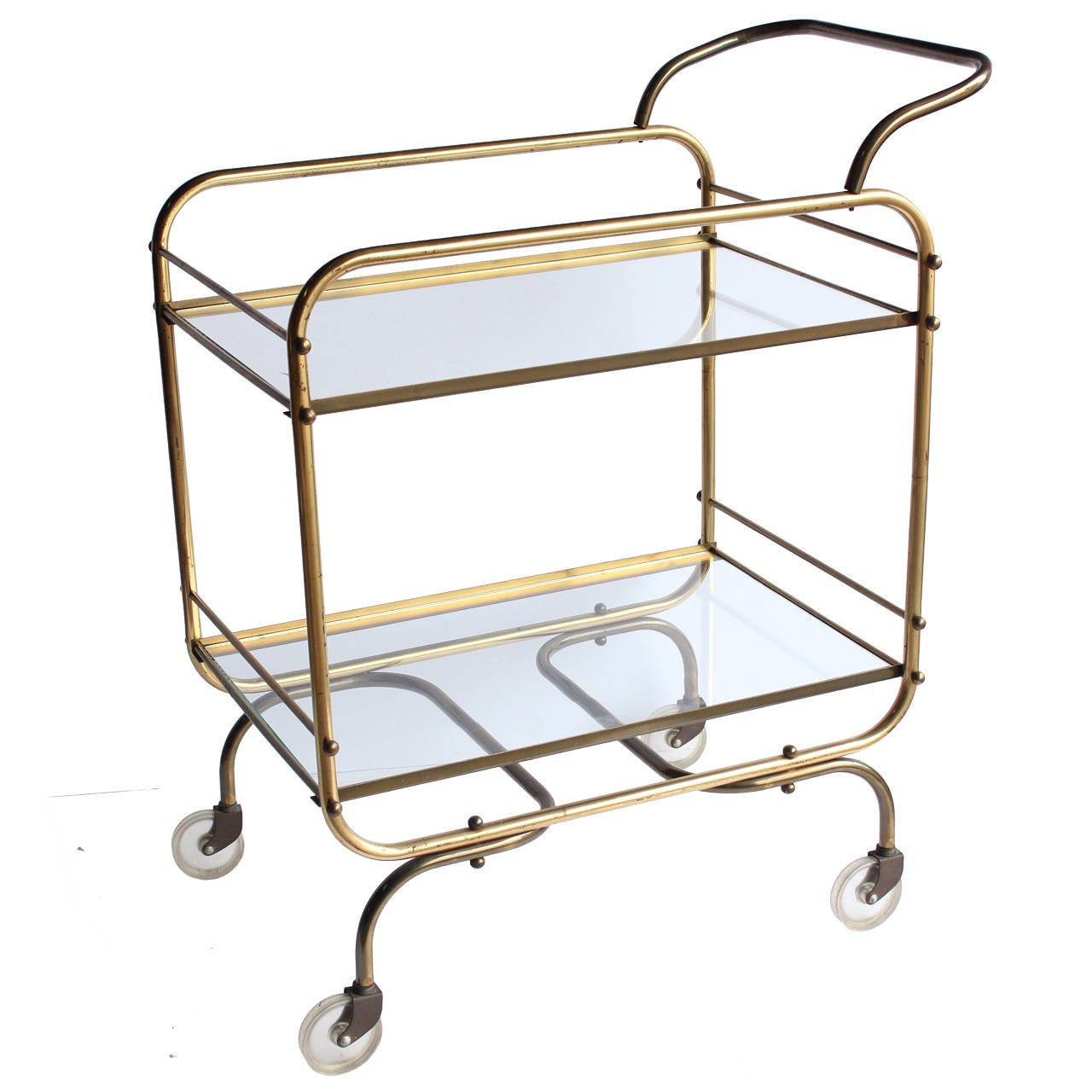Mid Century Brass Bar Cart