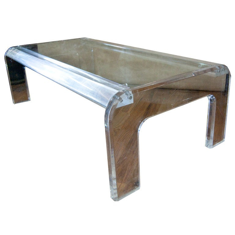 Modern american lucite coffee table for sale at 1stdibs for Acrylic coffee tables for sale