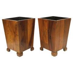 Wood Waste Basket in the Style of George Nakashima