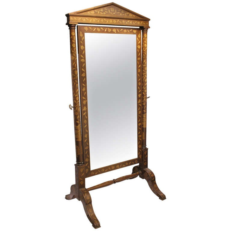 Antique Inlaid Wood Floor Mirror For Sale