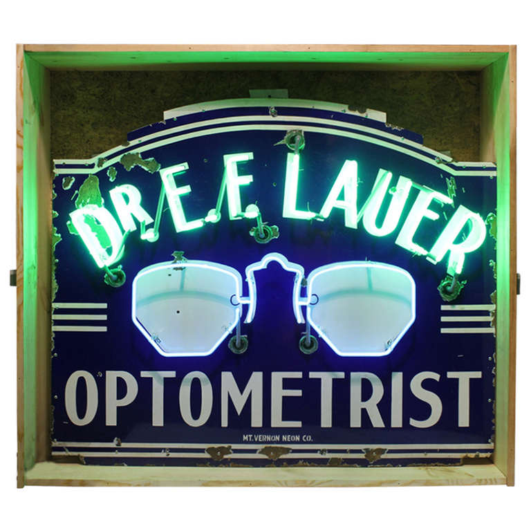 "1930's Original Neon Sign "" Optometrist """