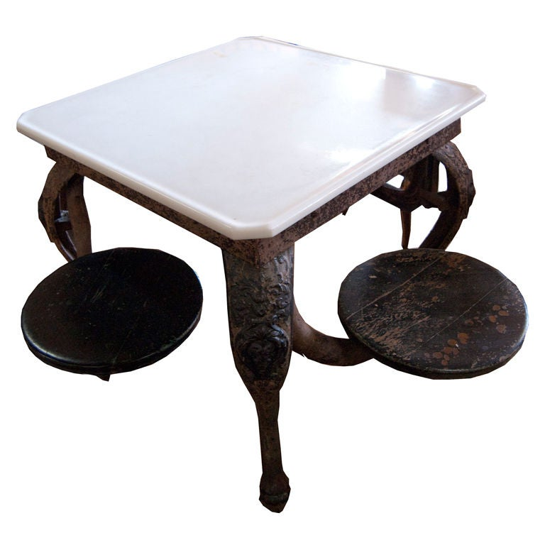 1900 S American Cast Iron Ice Cream Parlor Table At 1stdibs