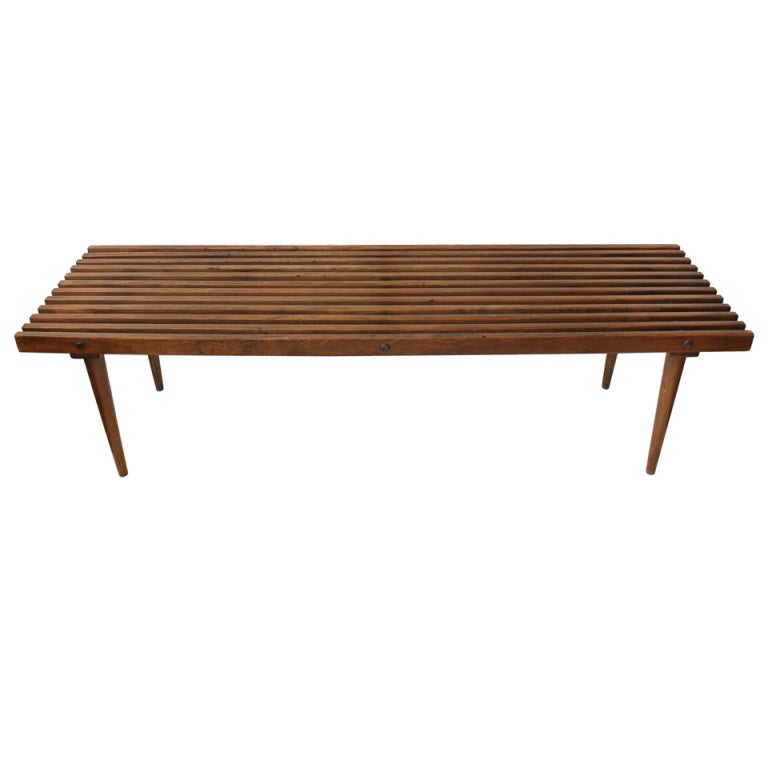 mid century george nelson style wood slat bench coffee table at 1stdibs