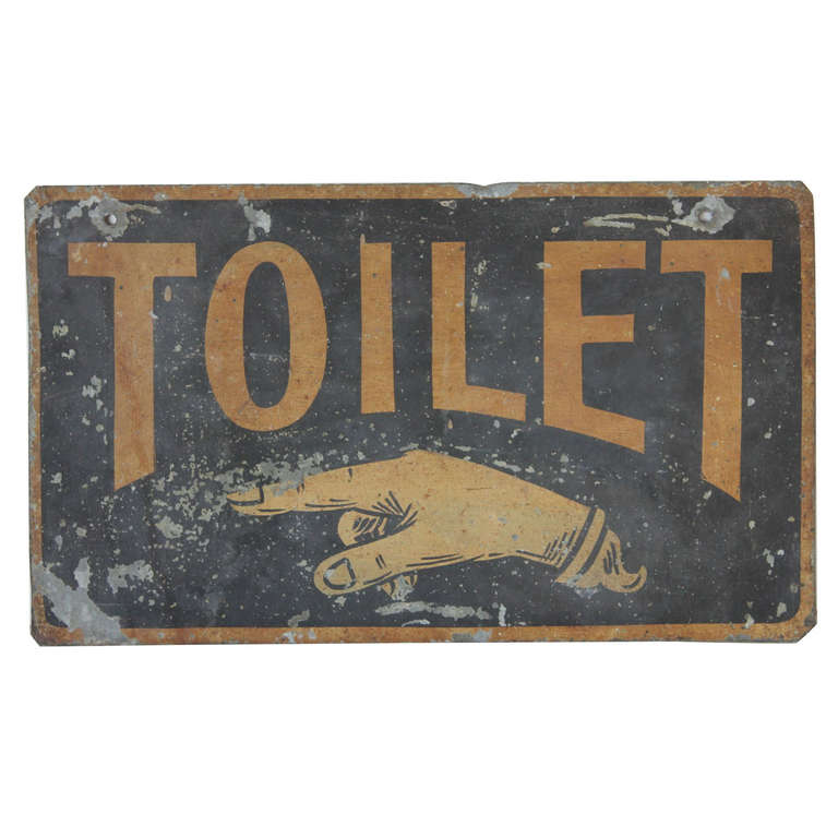 antique double sided tin sign toilet at 1stdibs. Black Bedroom Furniture Sets. Home Design Ideas
