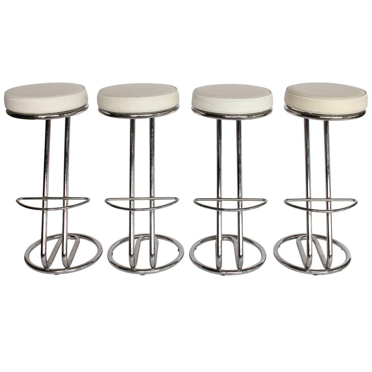 "Modern Leather and Chrome Tube ""Z"" Stools"