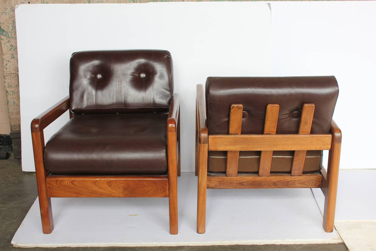 Stylish wood base lounge chairs designed by Milo Baughman for Thayer Coggin. Original upholstery. They have labels. Listed price is for one chair.
