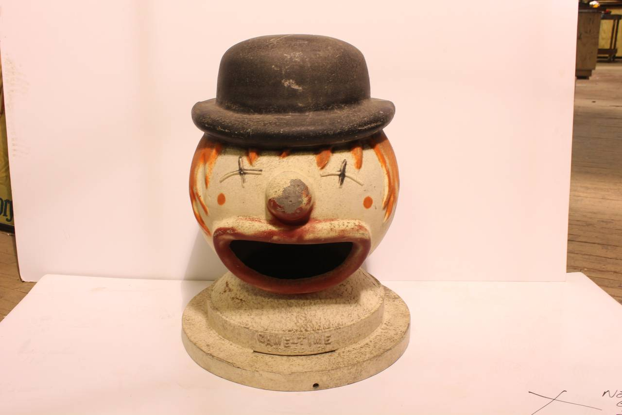 Large vintage carnival clown head game by Game Time Company. Original paint.