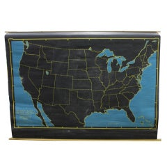 Vintage Pull Down Cartograph Slated Chalkboard Map by Denoyer & Geppert Co