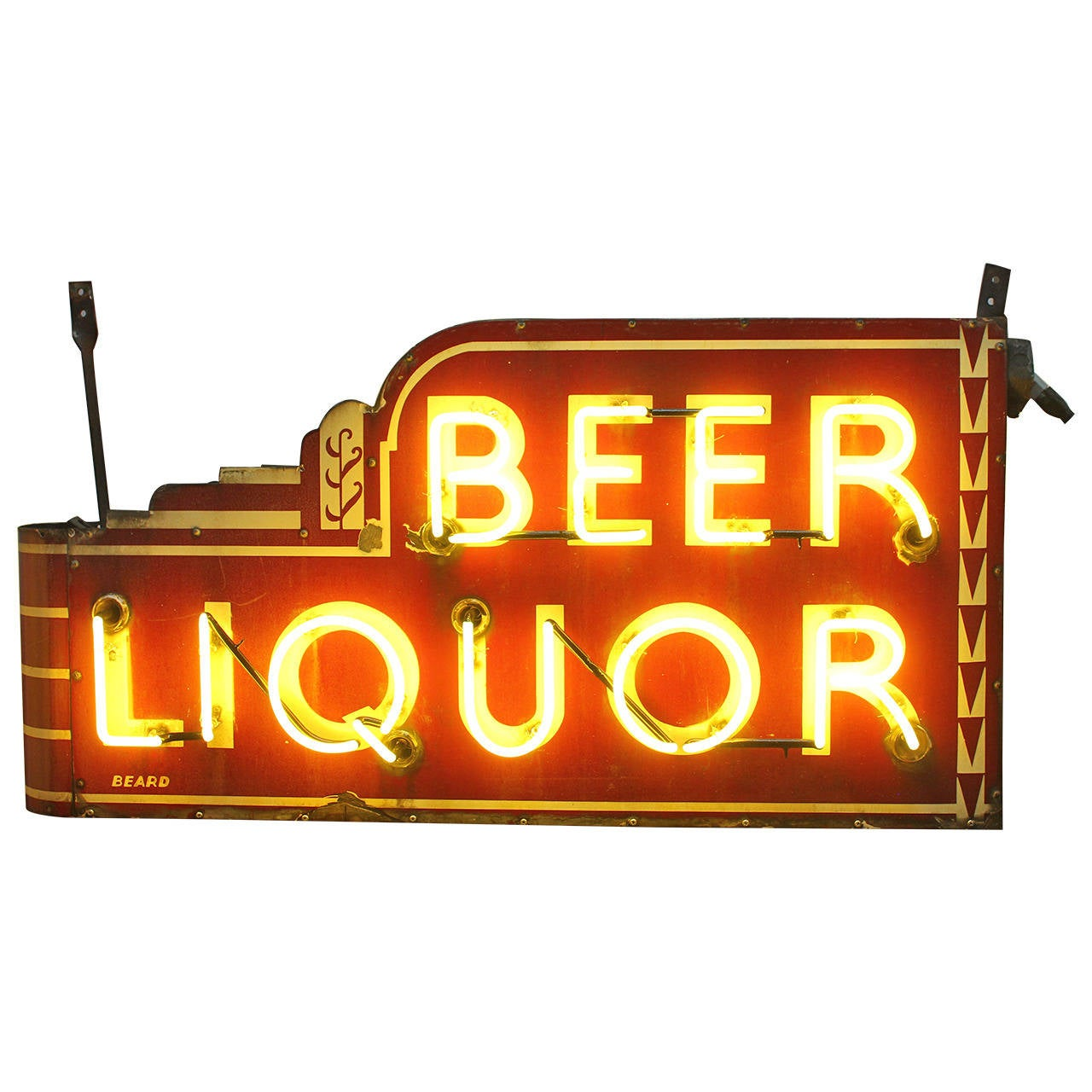 rare art deco double sided yellow neon sign beer liquor. Black Bedroom Furniture Sets. Home Design Ideas