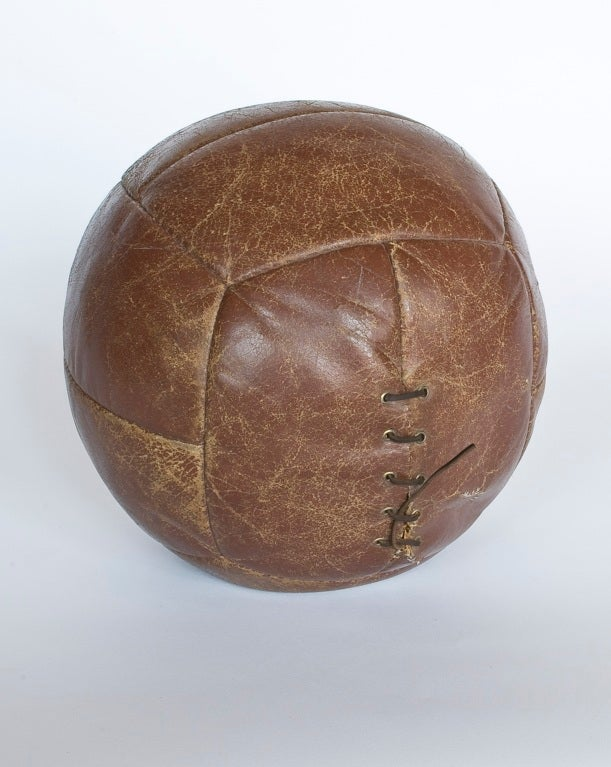 Antique leather medicine ball.