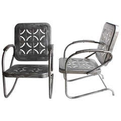 Mid Century Metal Garden Chairs