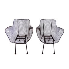 Wrought Iron & Mesh chairs by Russell Woodard