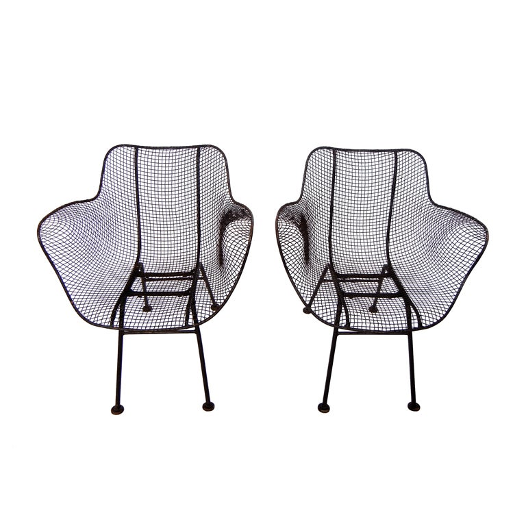 Wrought Iron and Mesh chairs by Russell Woodard For Sale
