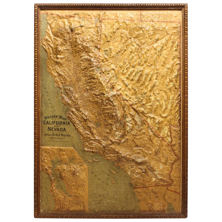 Large Early 1900 S Raised Relief Map Of California And