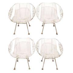 Rare Woodard Wrought Iron Garden Armchairs