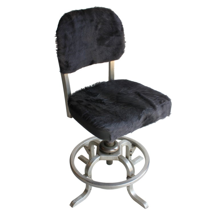 Desk Chair With Cowhide Upholstery By Goodform For Sale