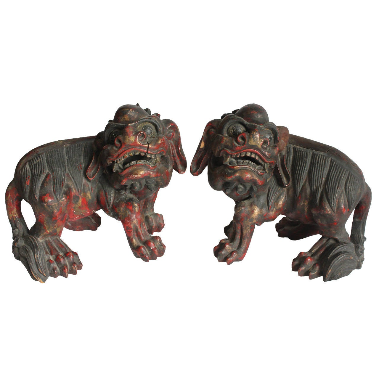 19th Century Chinese Carved Foo Dogs