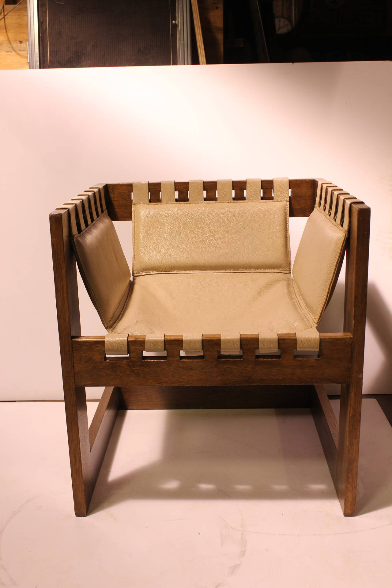 Modern Wood And Leather Sling Chair At 1stdibs