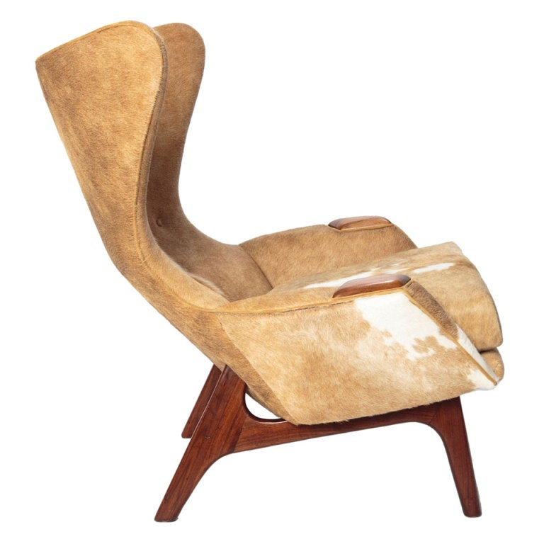 Adrian Pearsall Cowhide Wing Lounge Chair at 1stdibs