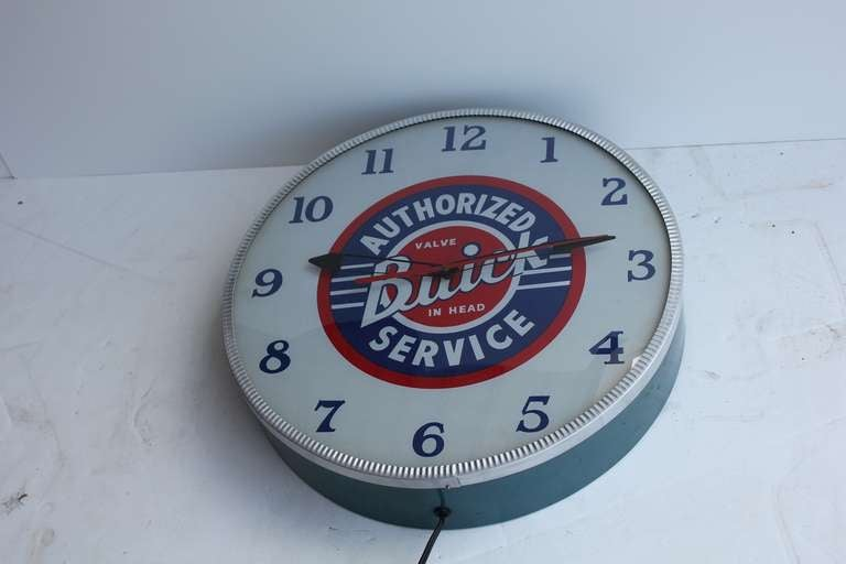 Rare 1940s glass face advertising shop wall light up clock for very rare 1940s buick shop light up wall clock with glass face very good condition aloadofball Images