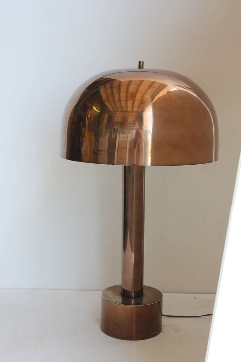 Mid Century Chrome Dome Table/desk Lamp By Laurel. Shade Has White Enamel  Finish