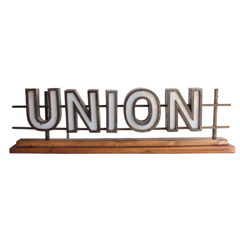 "1930's Light Up Sign "" UNION"""