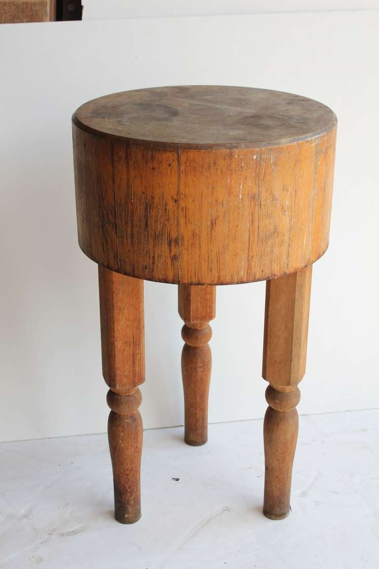 Antique wooden butcher block table at stdibs