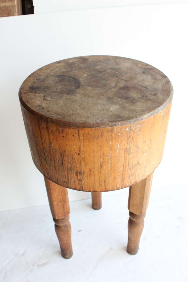 Antique Wooden Butcher Block Table At 1stdibs