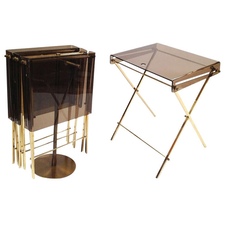 Set 4 Charles Hollis Jones Brass And Smoked Lucite Folding