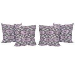 4 Hand Block Printed Fish and Net Pillows
