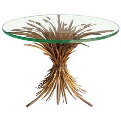 Vintage Italian Gold Leaf Sheaf Of Wheat Dining Table